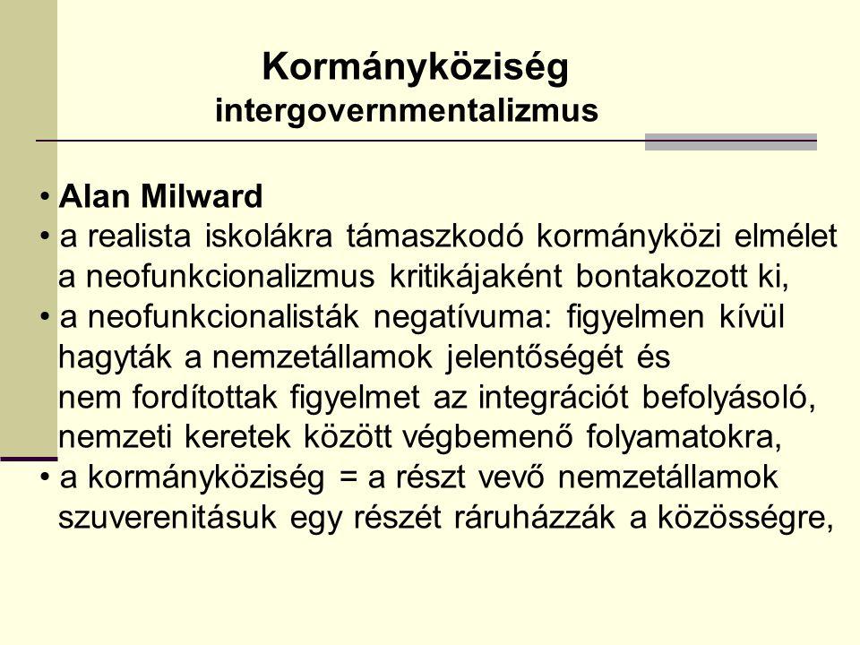 Kormányköziség intergovernmentalizmus Alan Milward