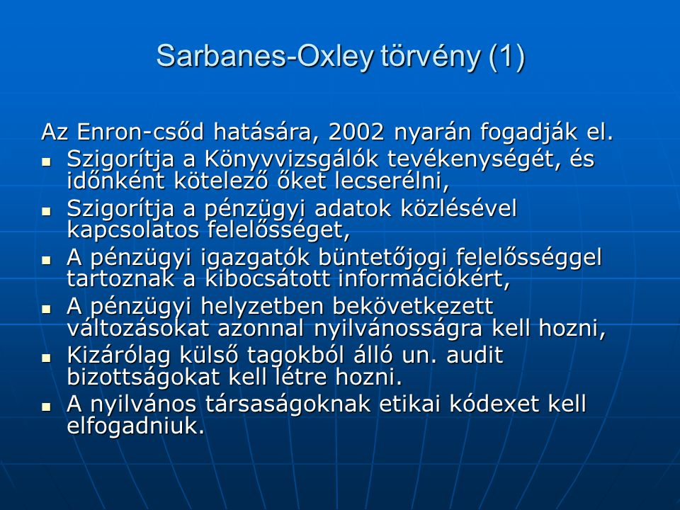 Sarbanes-Oxley törvény (1)