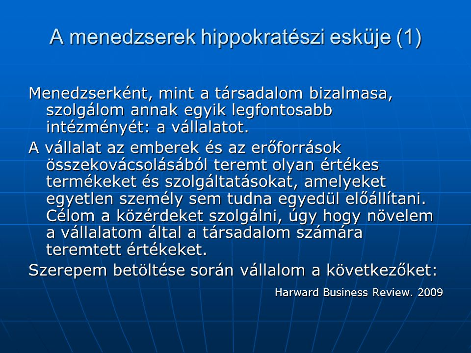 A menedzserek hippokratészi esküje (1)