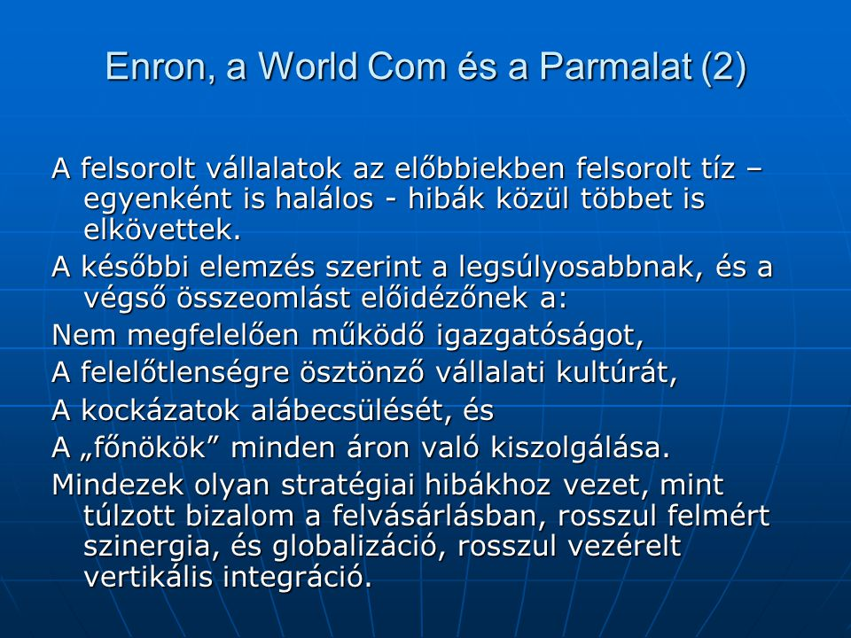 Enron, a World Com és a Parmalat (2)