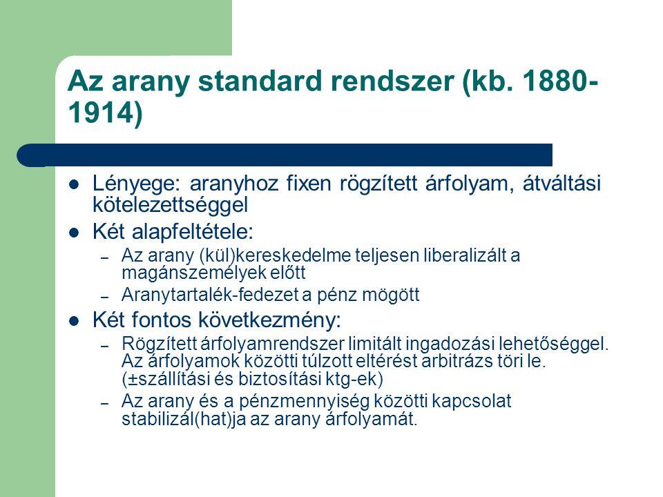 Az arany standard rendszer (kb. 1880-1914)
