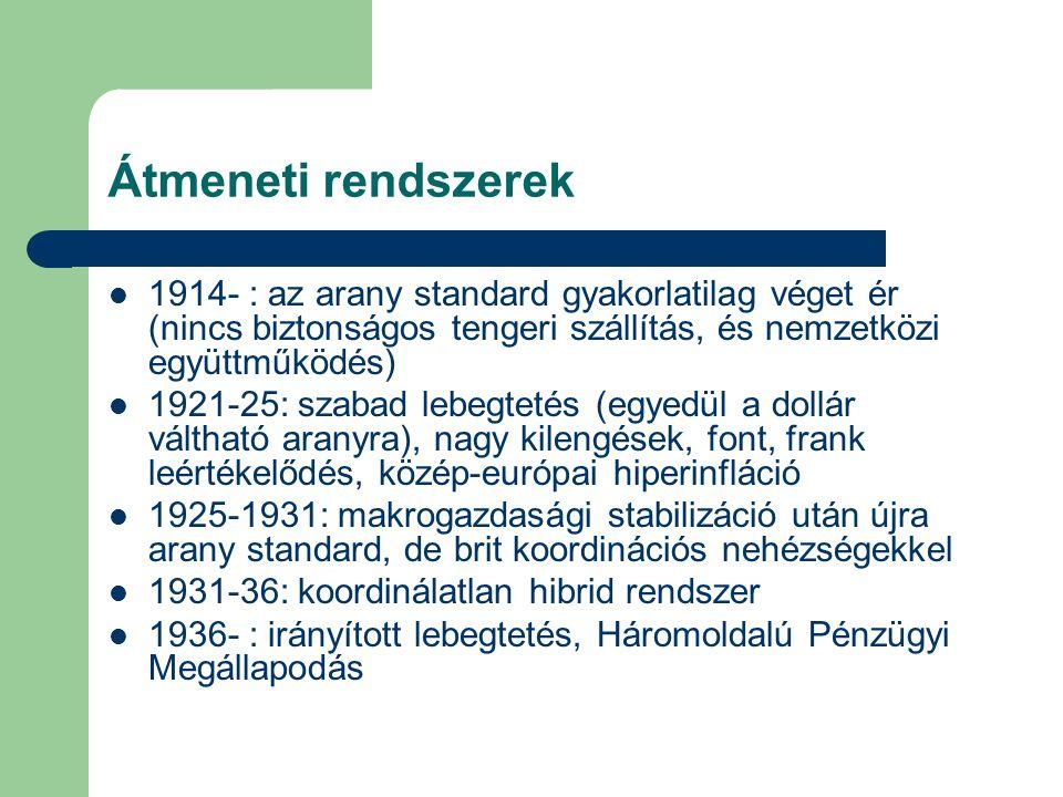 Átmeneti rendszerek 1914- : az arany standard gyakorlatilag véget ér (nincs biztonságos tengeri szállítás, és nemzetközi együttműködés)