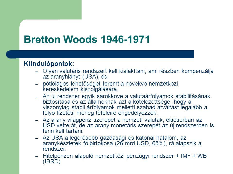 Bretton Woods 1946-1971 Kiindulópontok: