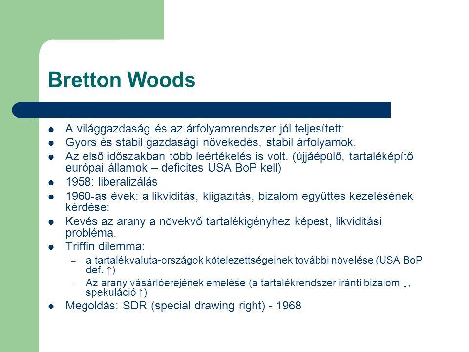 Bretton Woods A világgazdaság és az árfolyamrendszer jól teljesített: