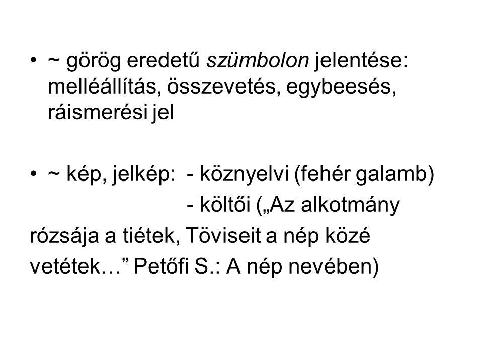 ~ görög eredetű szümbolon jelentése: melléállítás, összevetés, egybeesés, ráismerési jel