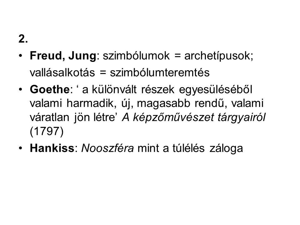 2. Freud, Jung: szimbólumok = archetípusok; vallásalkotás = szimbólumteremtés.