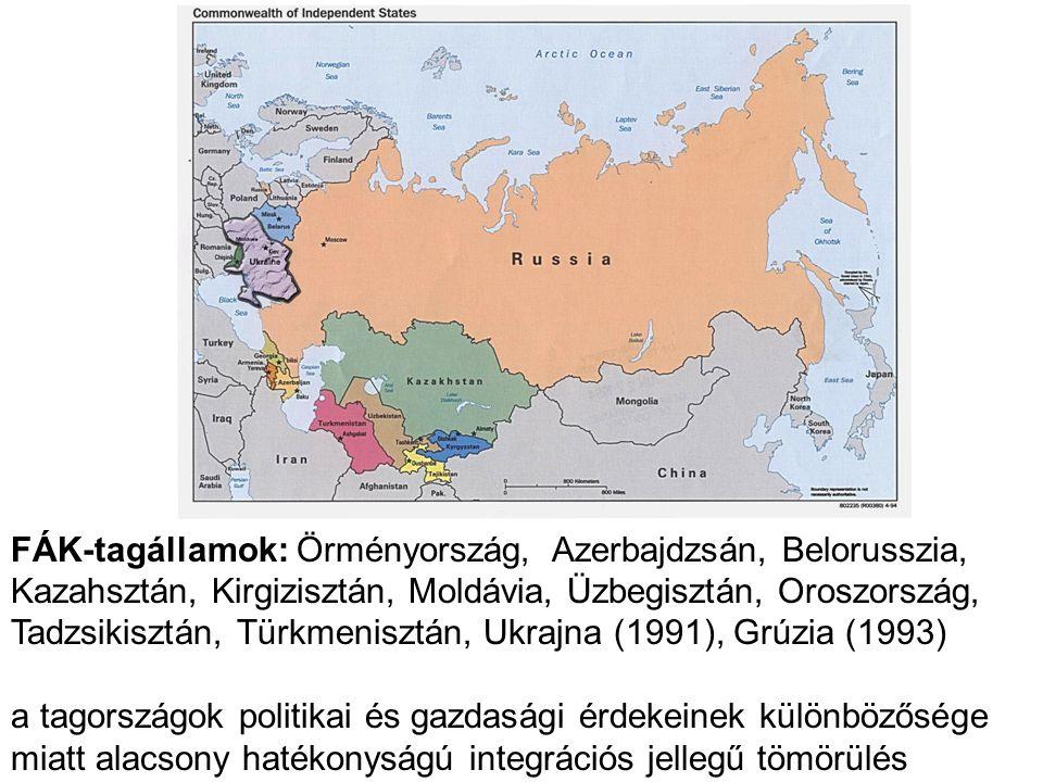 FÁK-tagállamok: Örményország, Azerbajdzsán, Belorusszia, Kazahsztán, Kirgizisztán, Moldávia, Üzbegisztán, Oroszország, Tadzsikisztán, Türkmenisztán, Ukrajna (1991), Grúzia (1993)