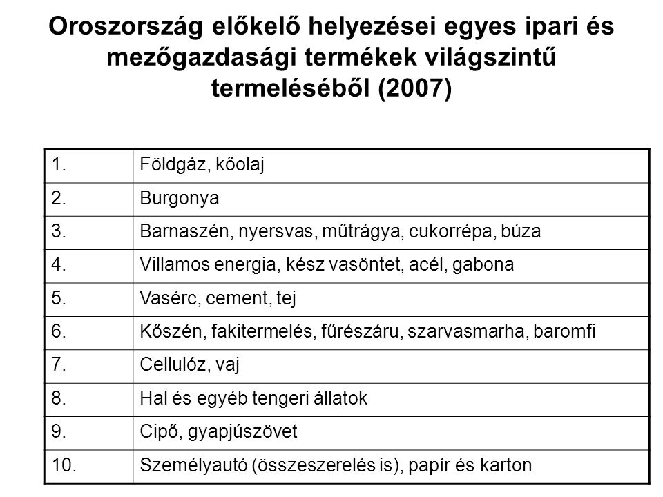 Oroszország előkelő helyezései egyes ipari és mezőgazdasági termékek világszintű termeléséből (2007)