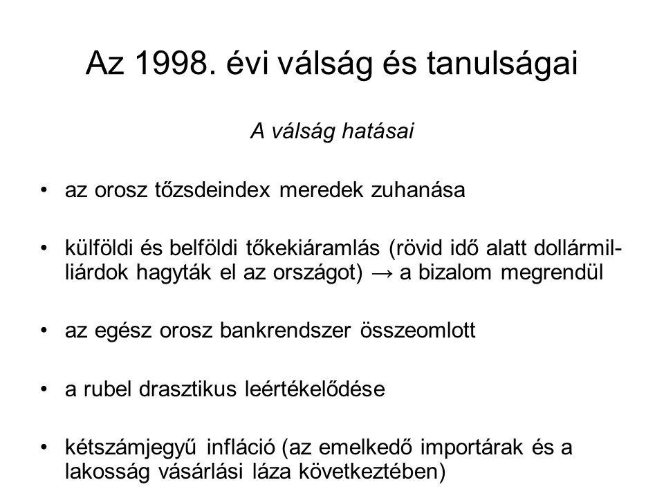 Az 1998. évi válság és tanulságai