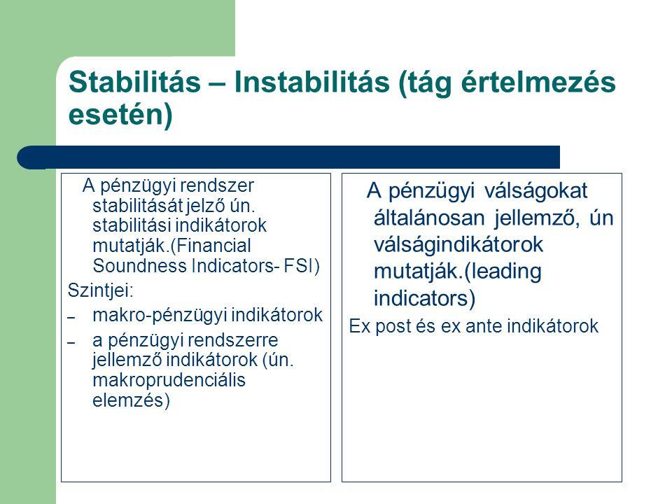 Stabilitás – Instabilitás (tág értelmezés esetén)