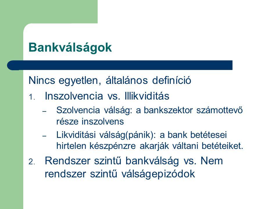 Bankválságok Nincs egyetlen, általános definíció