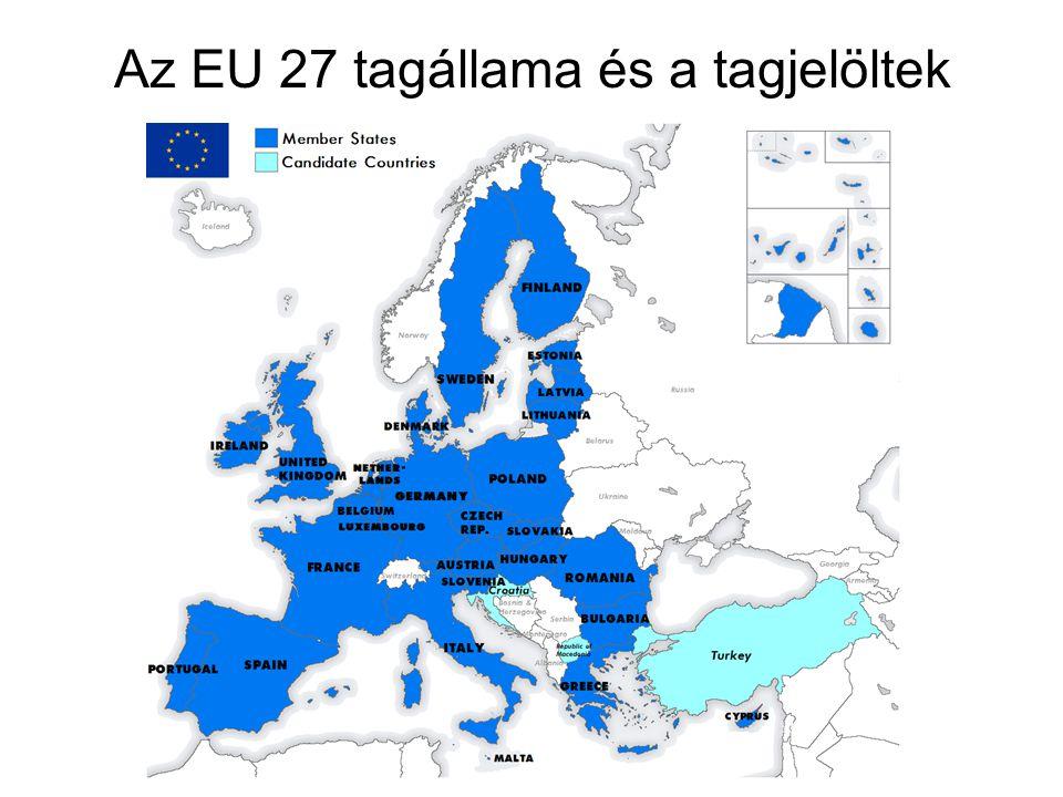Az EU 27 tagállama és a tagjelöltek