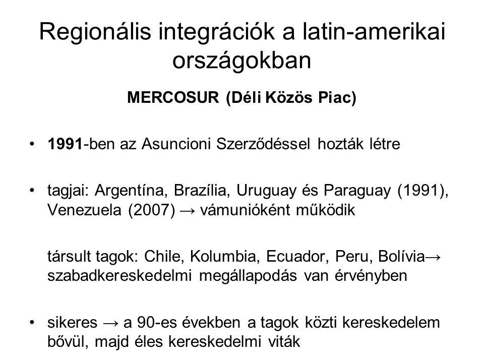 Regionális integrációk a latin-amerikai országokban