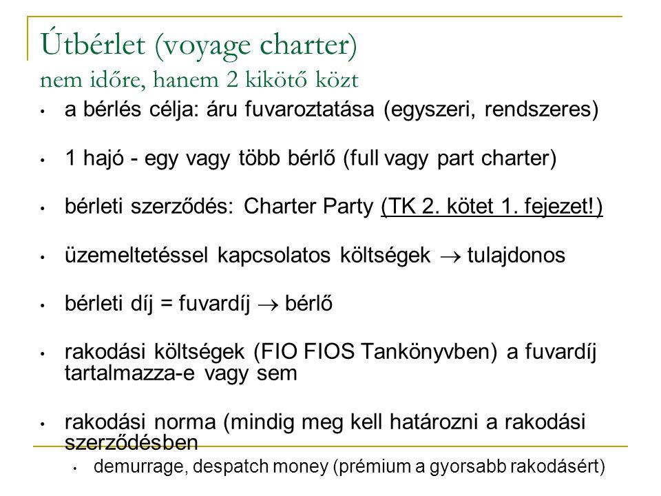 Útbérlet (voyage charter) nem időre, hanem 2 kikötő közt