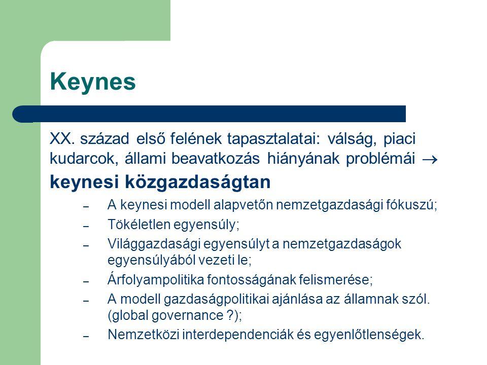 Keynes XX. század első felének tapasztalatai: válság, piaci kudarcok, állami beavatkozás hiányának problémái  keynesi közgazdaságtan.