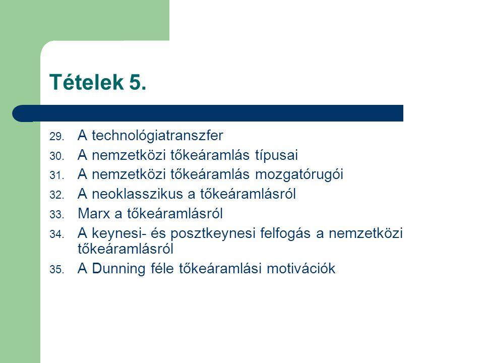 Tételek 5. A technológiatranszfer A nemzetközi tőkeáramlás típusai