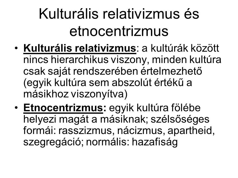 Kulturális relativizmus és etnocentrizmus