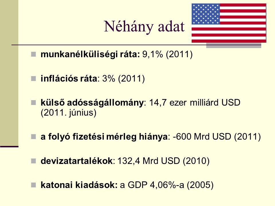 Néhány adat munkanélküliségi ráta: 9,1% (2011)