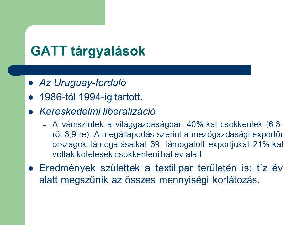 GATT tárgyalások Az Uruguay-forduló 1986-tól 1994-ig tartott.