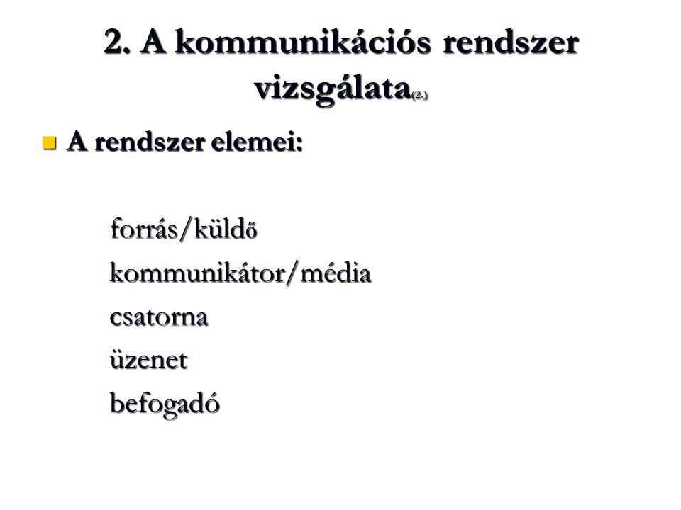 2. A kommunikációs rendszer vizsgálata(2.)