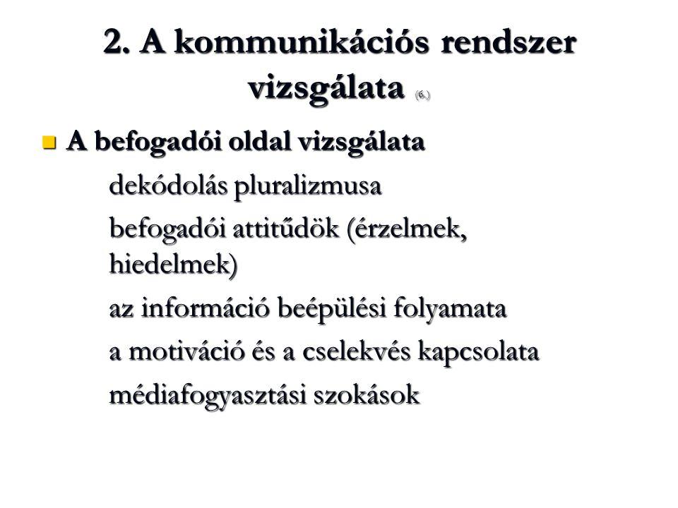 2. A kommunikációs rendszer vizsgálata (6.)