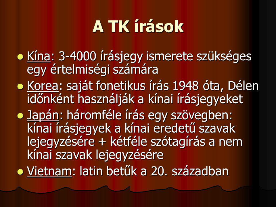 A TK írások Kína: 3-4000 írásjegy ismerete szükséges egy értelmiségi számára.
