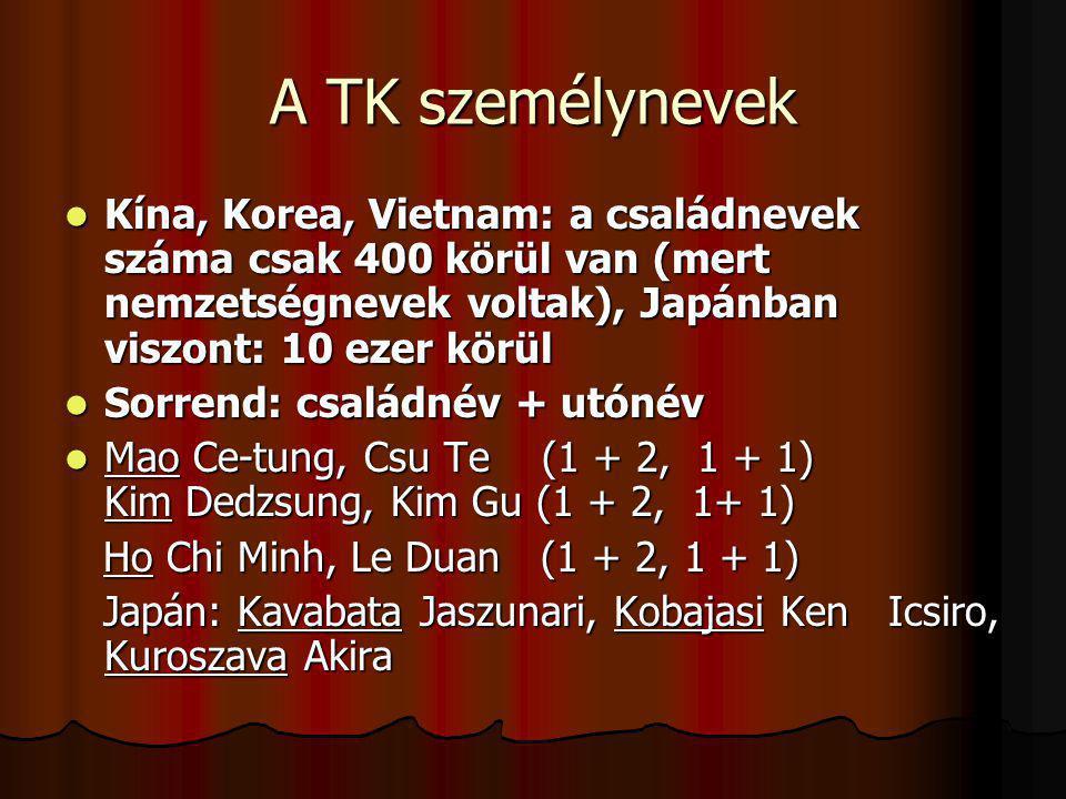 A TK személynevek Kína, Korea, Vietnam: a családnevek száma csak 400 körül van (mert nemzetségnevek voltak), Japánban viszont: 10 ezer körül.