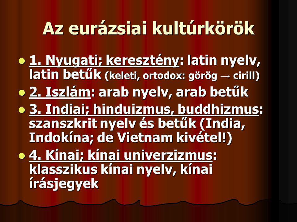 Az eurázsiai kultúrkörök