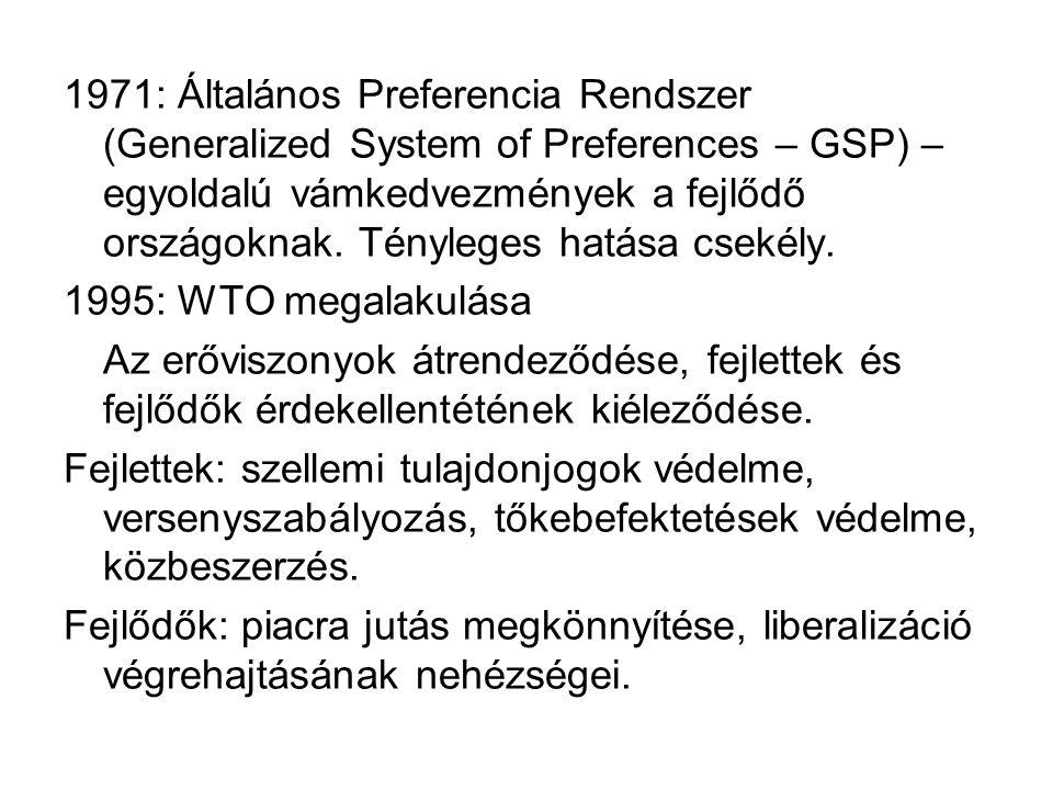 1971: Általános Preferencia Rendszer (Generalized System of Preferences – GSP) – egyoldalú vámkedvezmények a fejlődő országoknak. Tényleges hatása csekély.