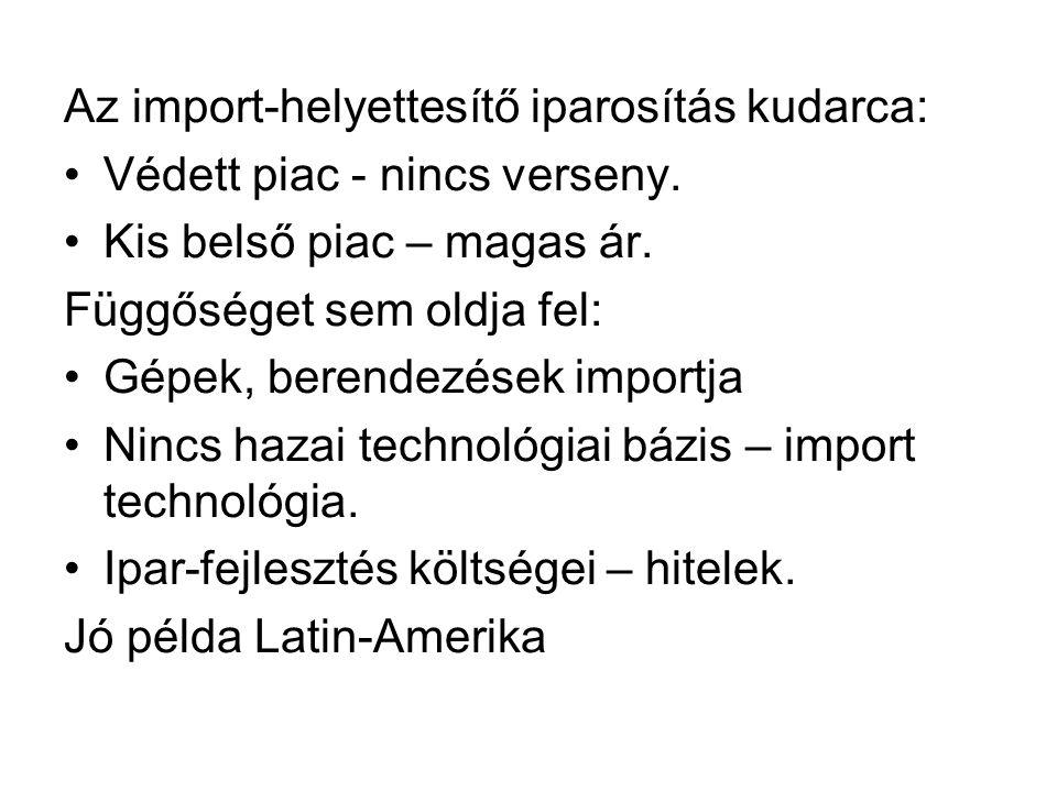 Az import-helyettesítő iparosítás kudarca:
