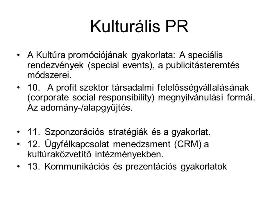 Kulturális PR A Kultúra promóciójának gyakorlata: A speciális rendezvények (special events), a publicitásteremtés módszerei.