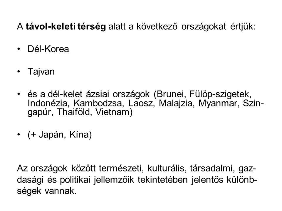 A távol-keleti térség alatt a következő országokat értjük: