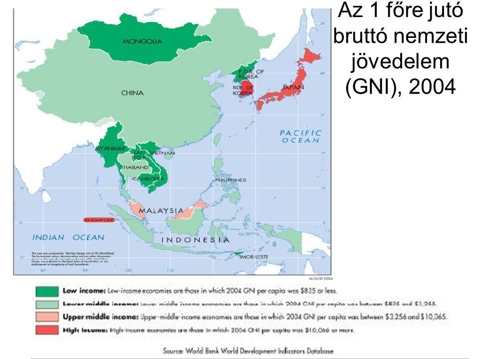Az 1 főre jutó bruttó nemzeti jövedelem (GNI), 2004