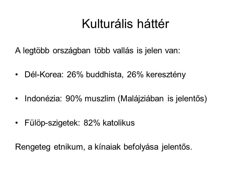 Kulturális háttér A legtöbb országban több vallás is jelen van: