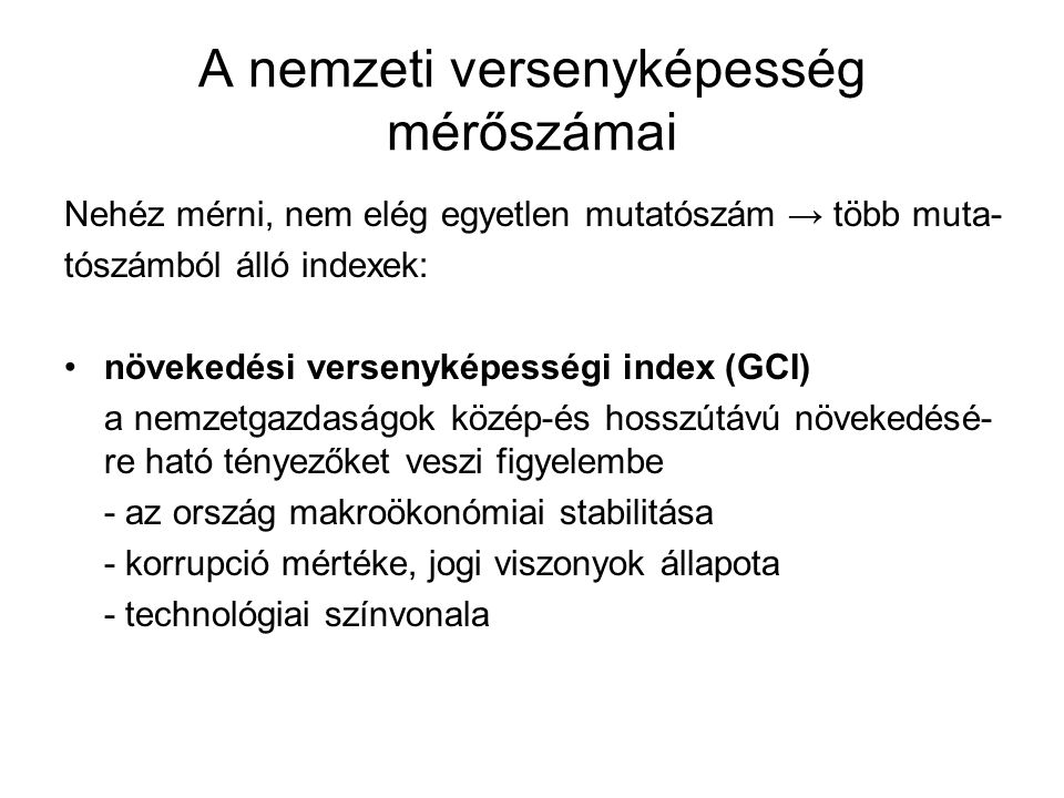 A nemzeti versenyképesség mérőszámai