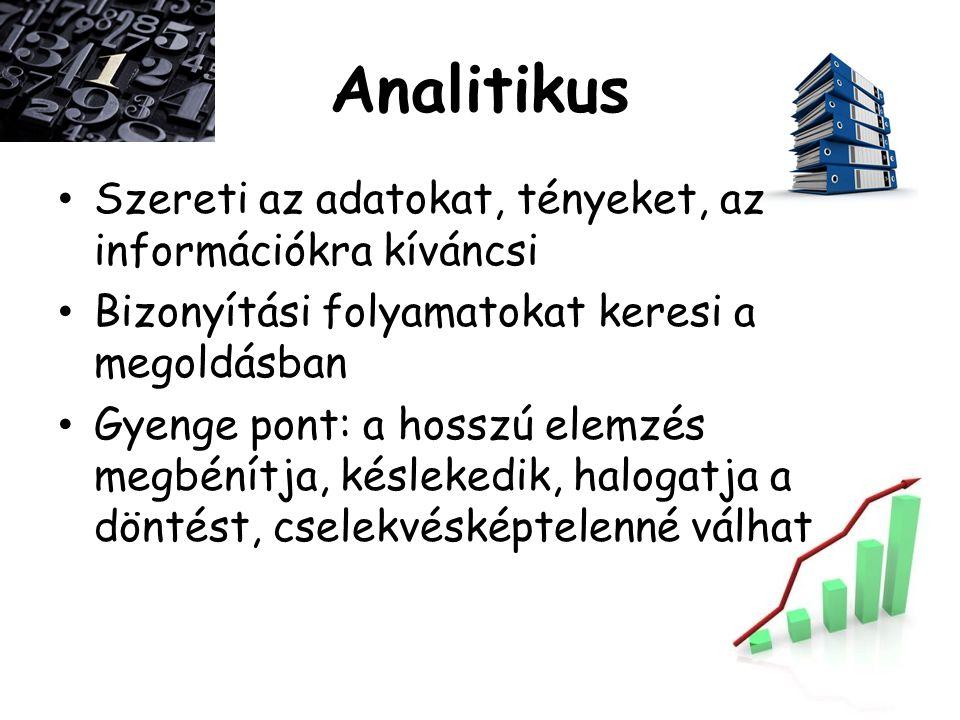 Analitikus Szereti az adatokat, tényeket, az információkra kíváncsi