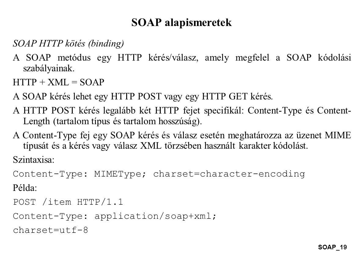 SOAP alapismeretek SOAP HTTP kötés (binding)