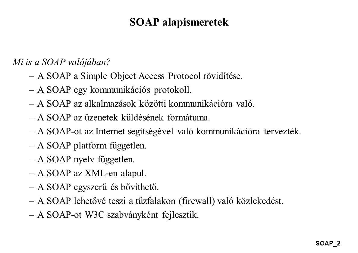 SOAP alapismeretek Mi is a SOAP valójában