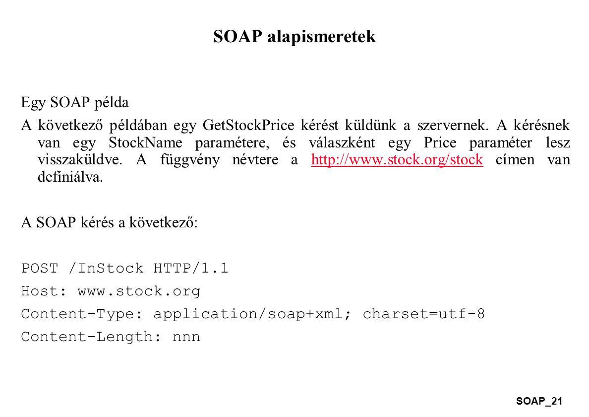 SOAP alapismeretek Egy SOAP példa