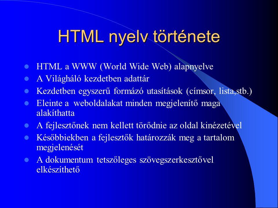 HTML nyelv története HTML a WWW (World Wide Web) alapnyelve