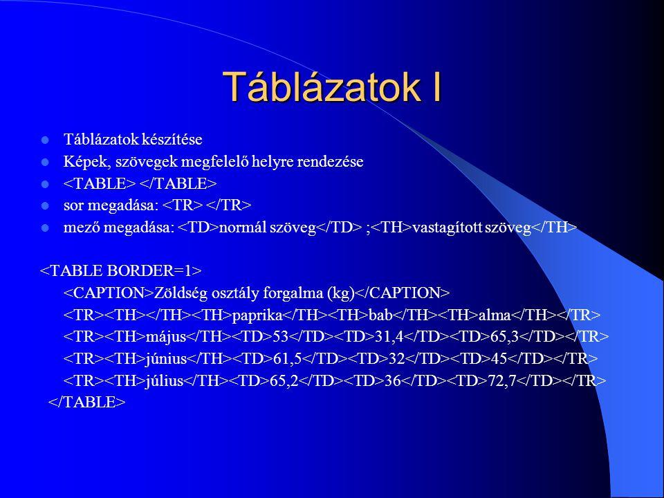 Táblázatok I Táblázatok készítése