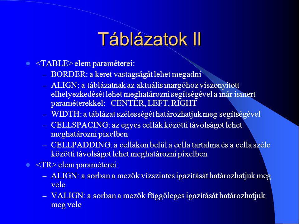 Táblázatok II <TABLE> elem paraméterei: