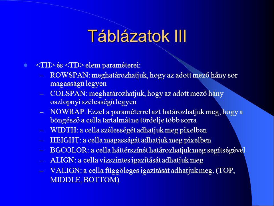 Táblázatok III <TH> és <TD> elem paraméterei: