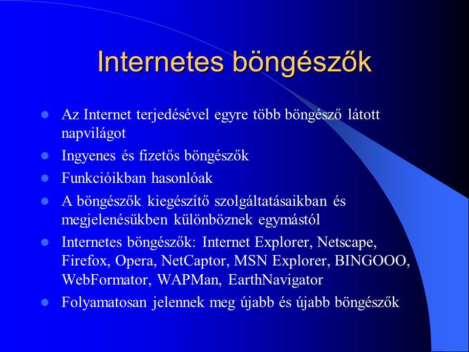 Internetes böngészők Az Internet terjedésével egyre több böngésző látott napvilágot. Ingyenes és fizetős böngészők.