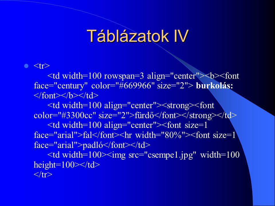 Táblázatok IV