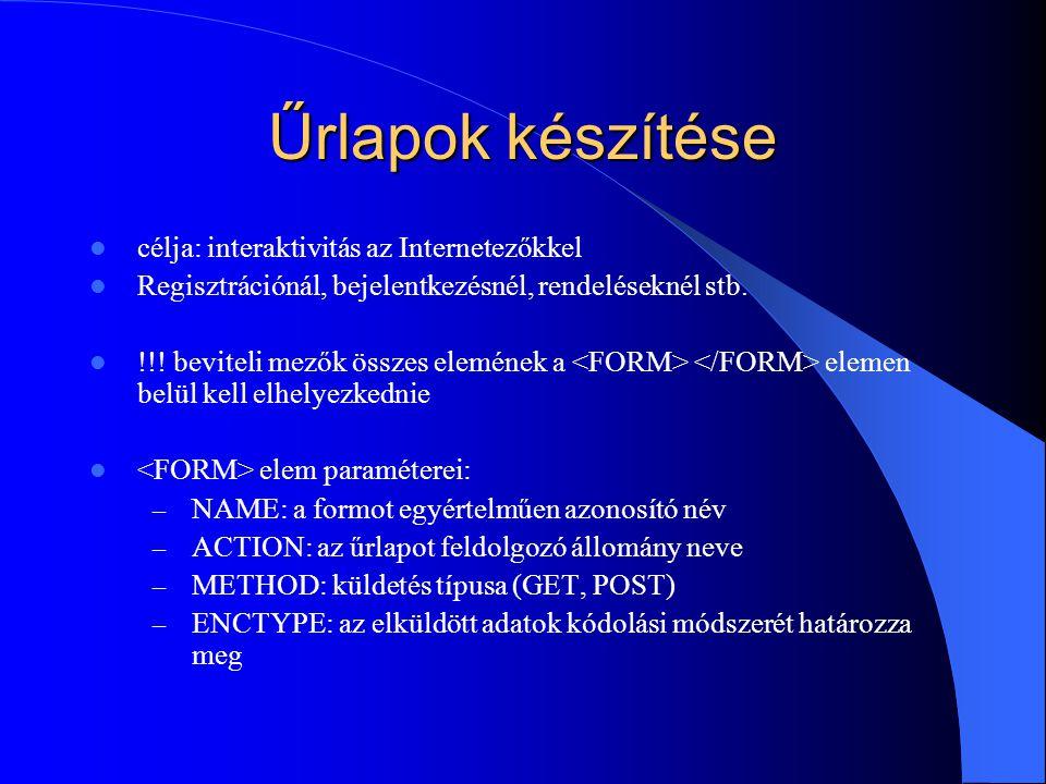 Űrlapok készítése célja: interaktivitás az Internetezőkkel