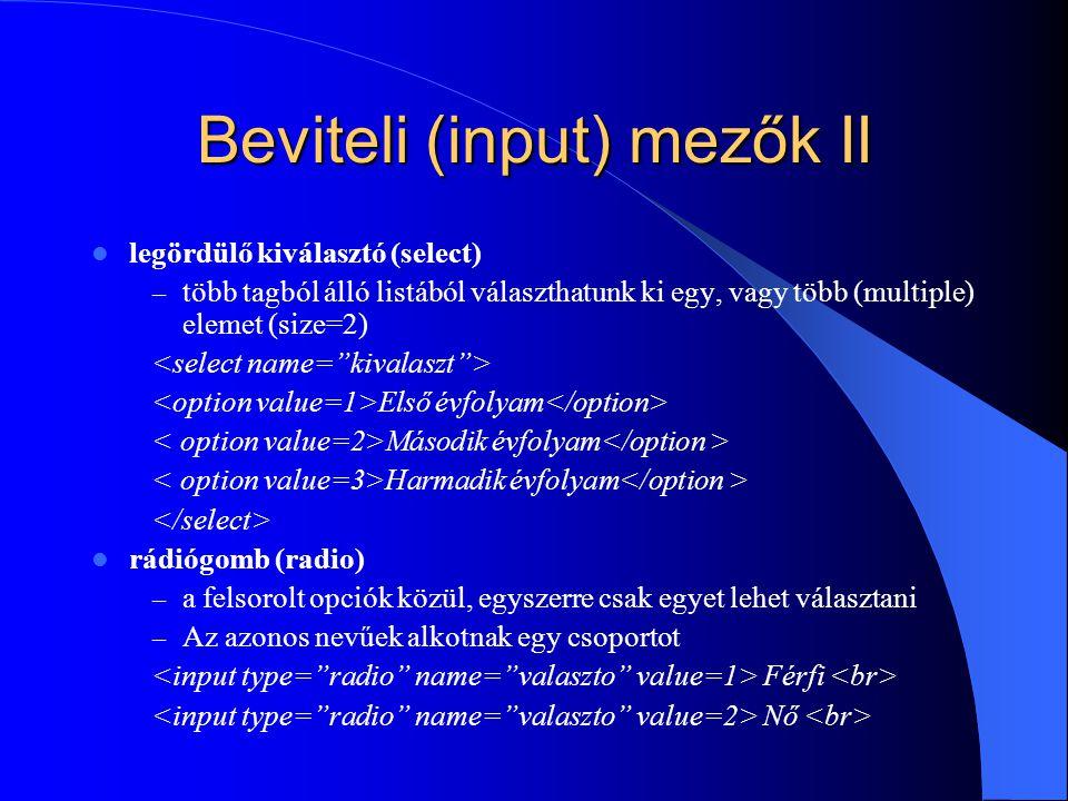 Beviteli (input) mezők II