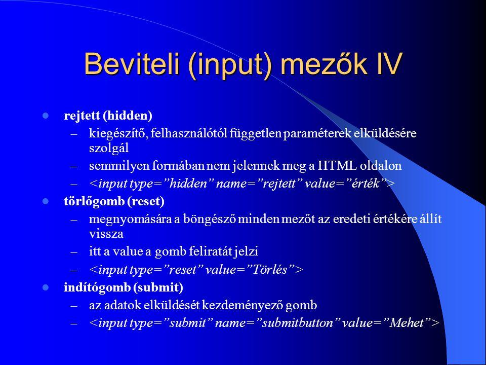 Beviteli (input) mezők IV