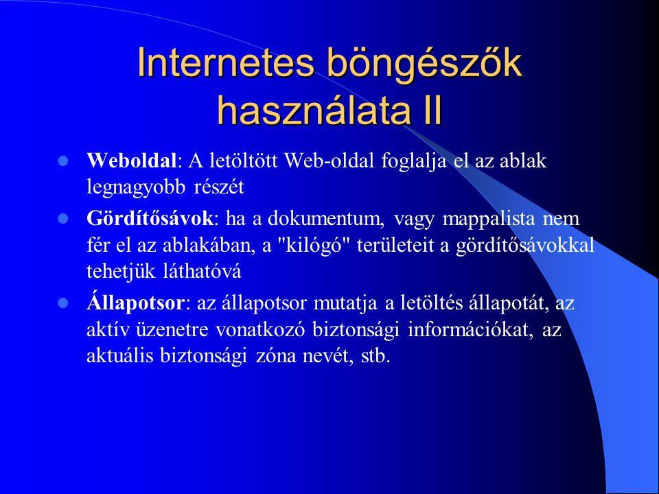 Internetes böngészők használata II
