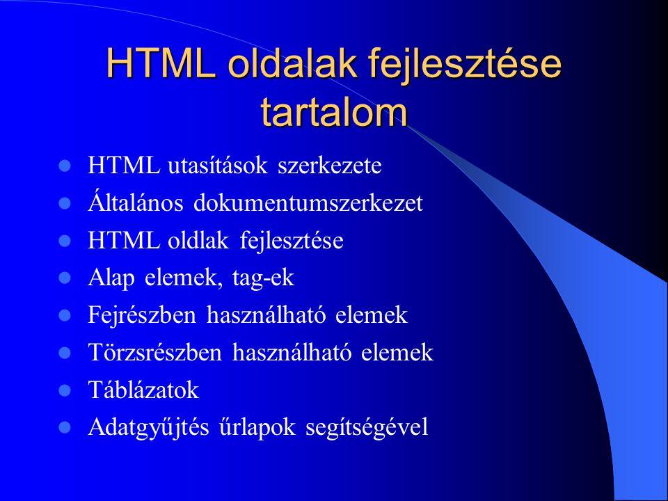 HTML oldalak fejlesztése tartalom